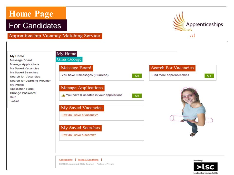 Home Page For Candidates