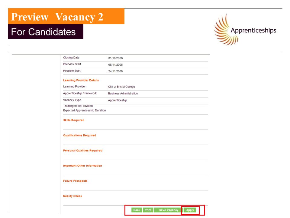 Preview Vacancy 2 For Candidates