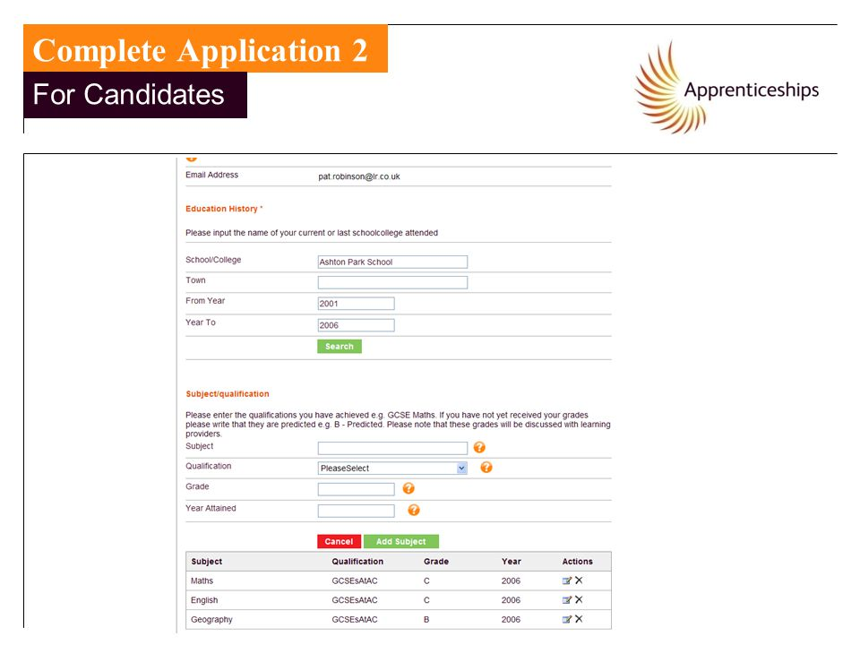 Complete Application 2 For Candidates For Candidates