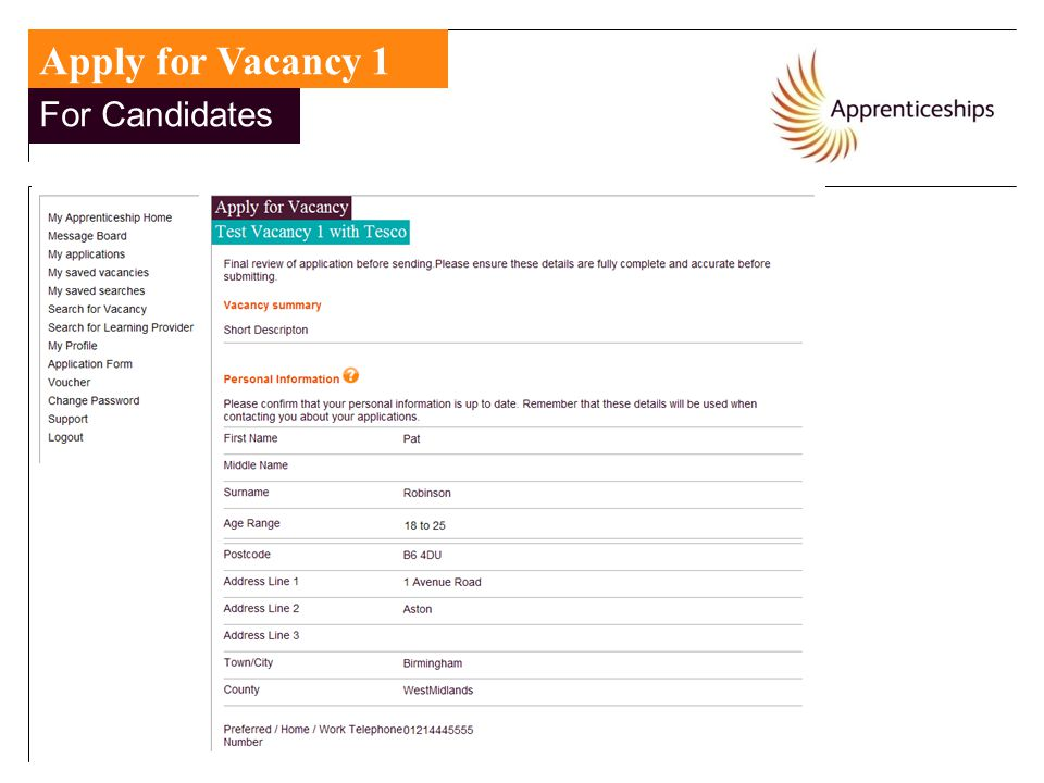 Apply for Vacancy 1 For Candidates For Candidates