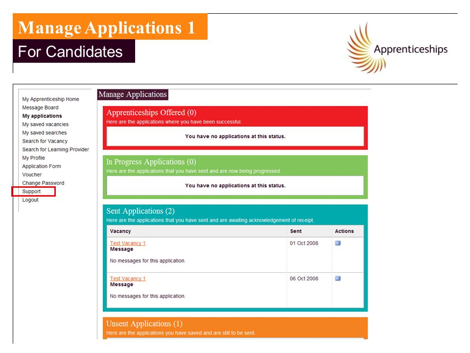 Manage Applications 1 For Candidates