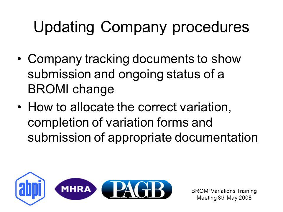 Updating Company procedures