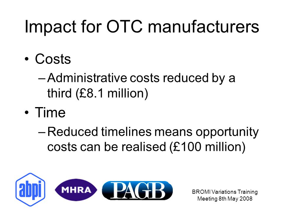 Impact for OTC manufacturers