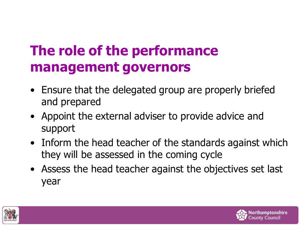 The role of the performance management governors