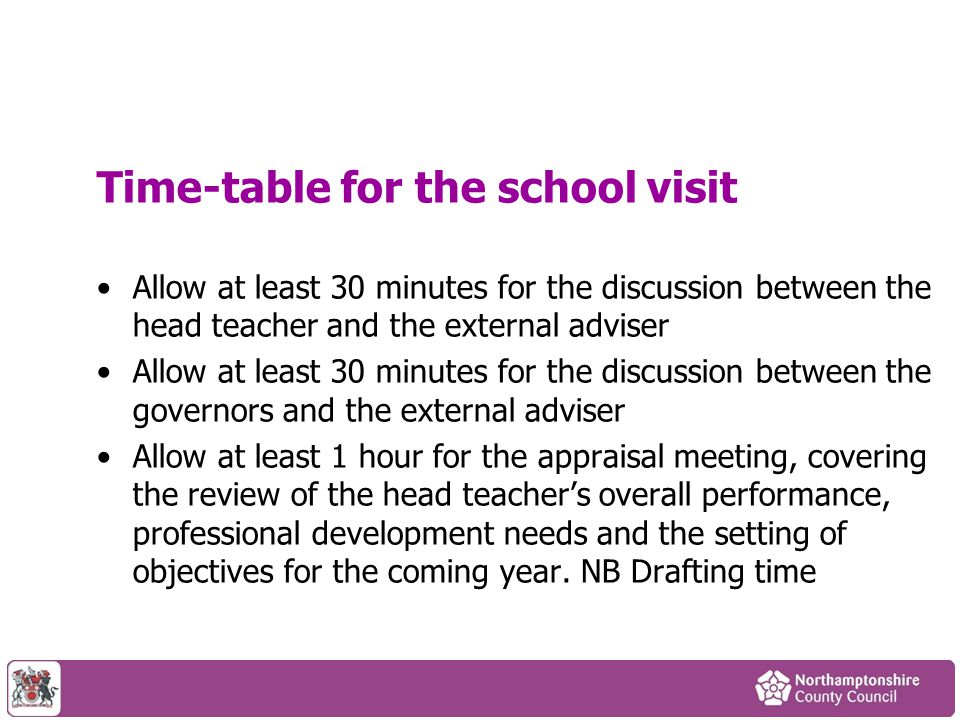 Time-table for the school visit