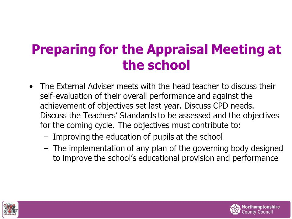 Preparing for the Appraisal Meeting at the school