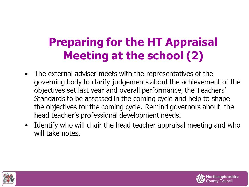 Preparing for the HT Appraisal Meeting at the school (2)