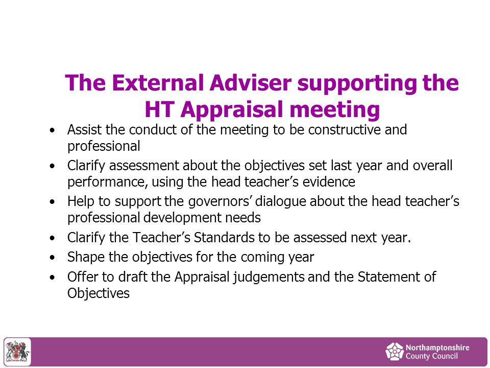 The External Adviser supporting the HT Appraisal meeting