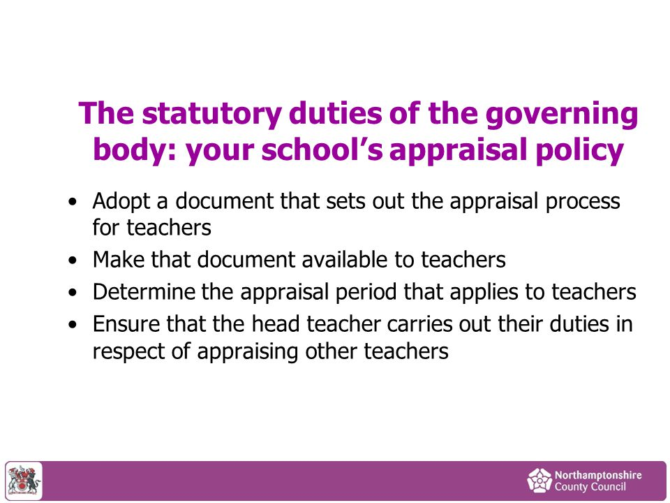 The statutory duties of the governing body: your school's appraisal policy