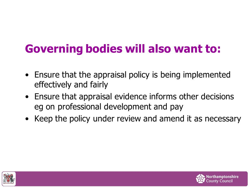 Governing bodies will also want to: