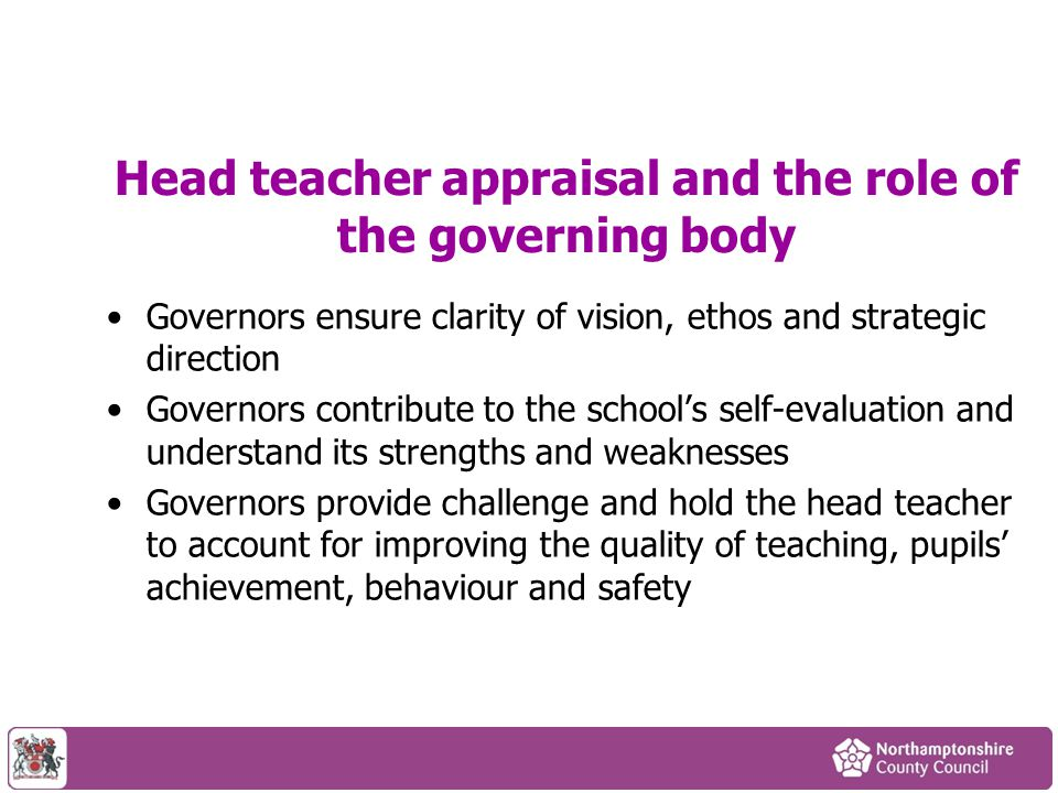 Head teacher appraisal and the role of the governing body
