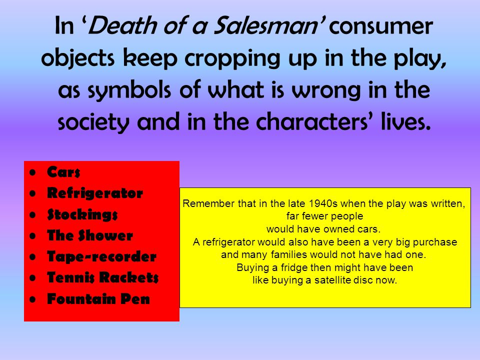 character analysis essay about the play death of a salesman Free essay: death of a salesman as a mentally unstable man, willy has a very complex relationship with the people around him, which come a great deal from.