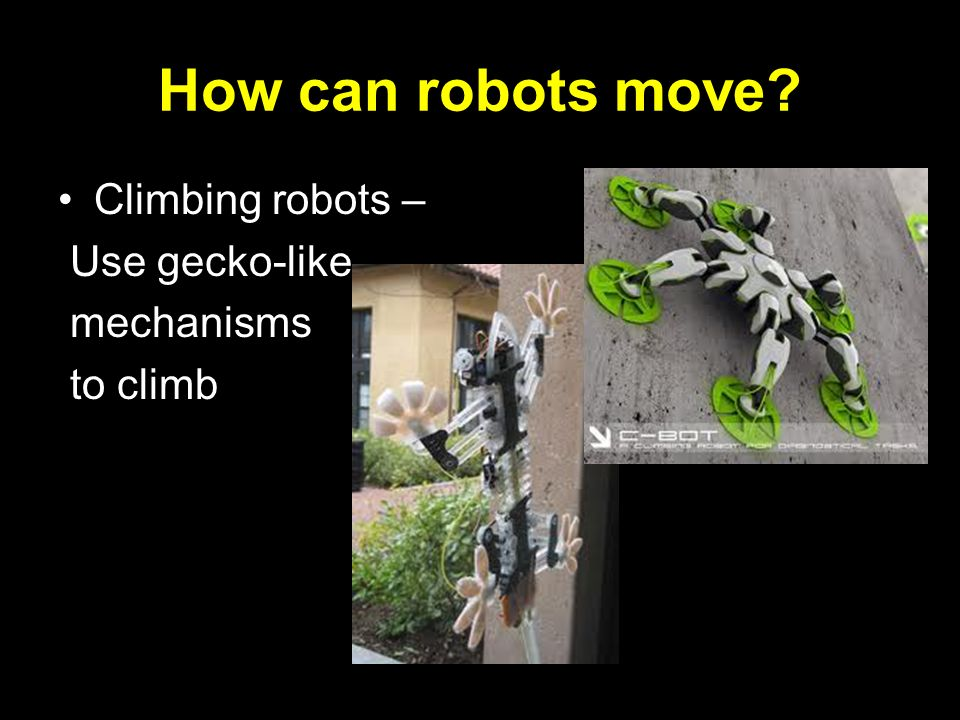 How can robots move Climbing robots – Use gecko-like mechanisms