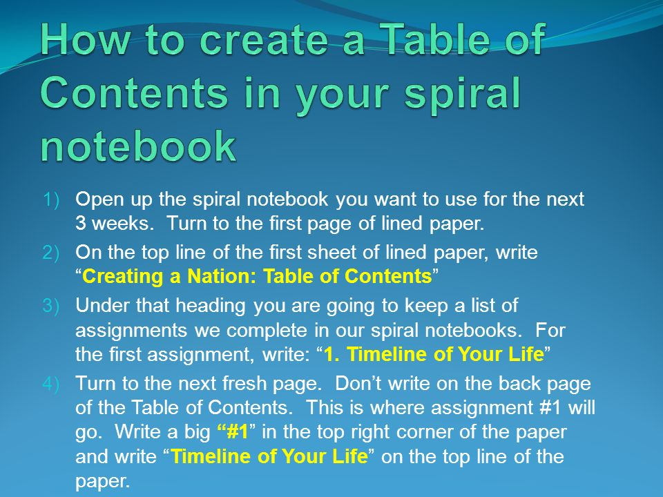 How to create a Table of Contents in your spiral notebook