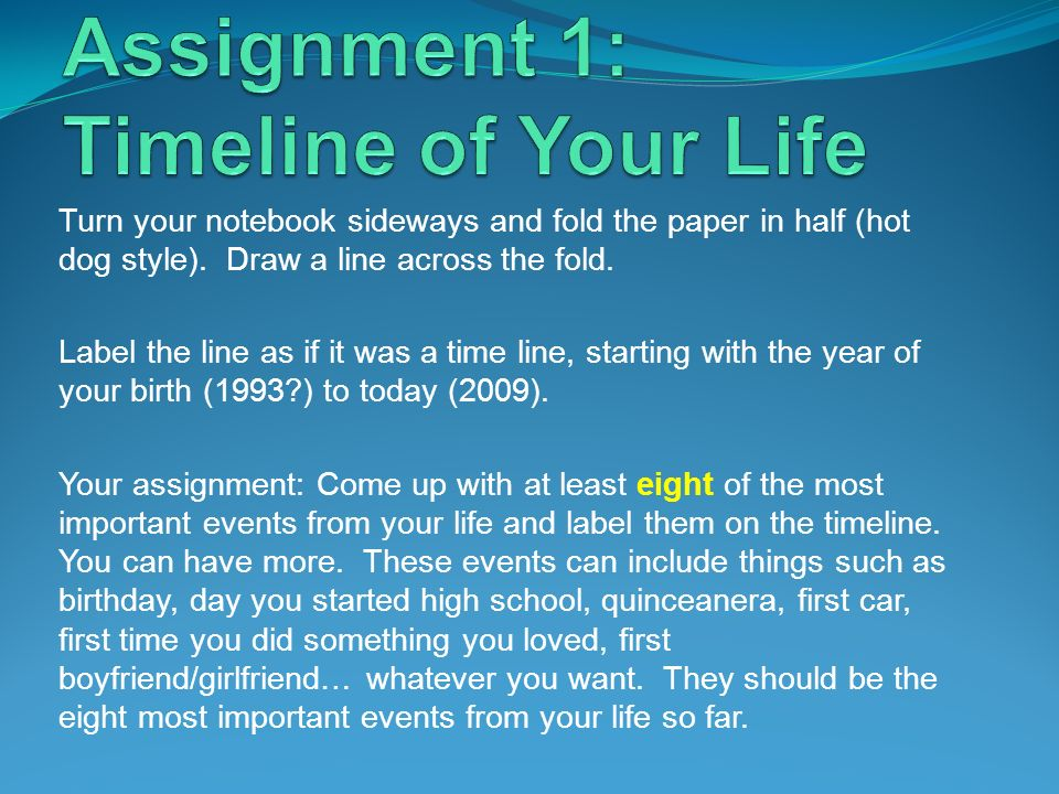 Assignment 1: Timeline of Your Life