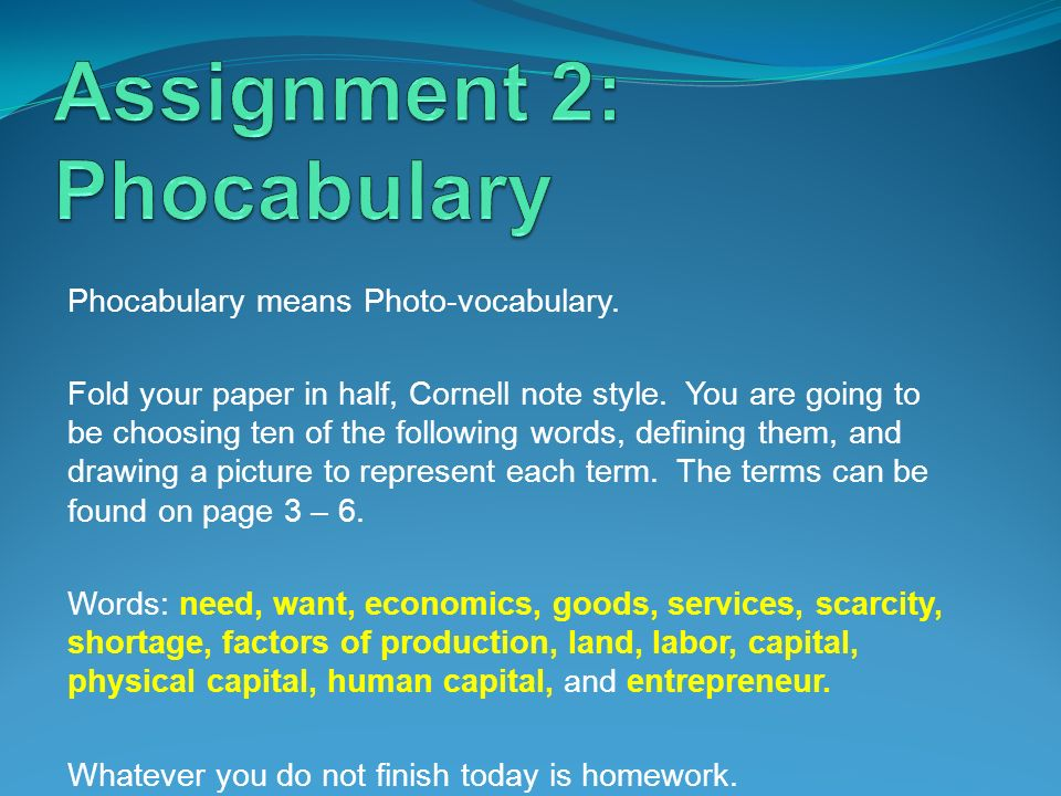 Assignment 2: Phocabulary