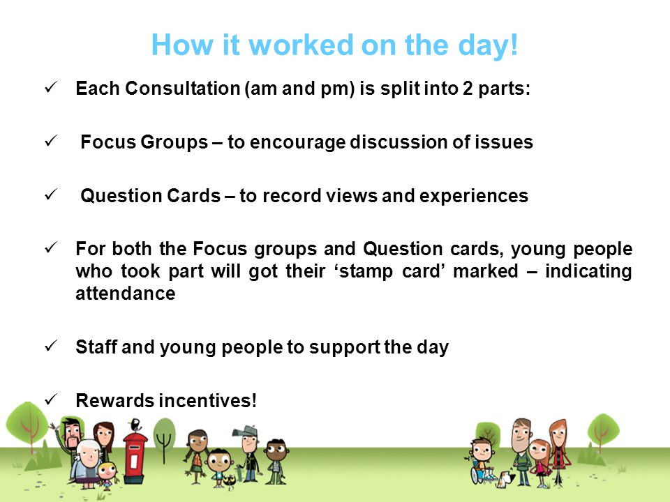 How it worked on the day! Each Consultation (am and pm) is split into 2 parts: Focus Groups – to encourage discussion of issues.