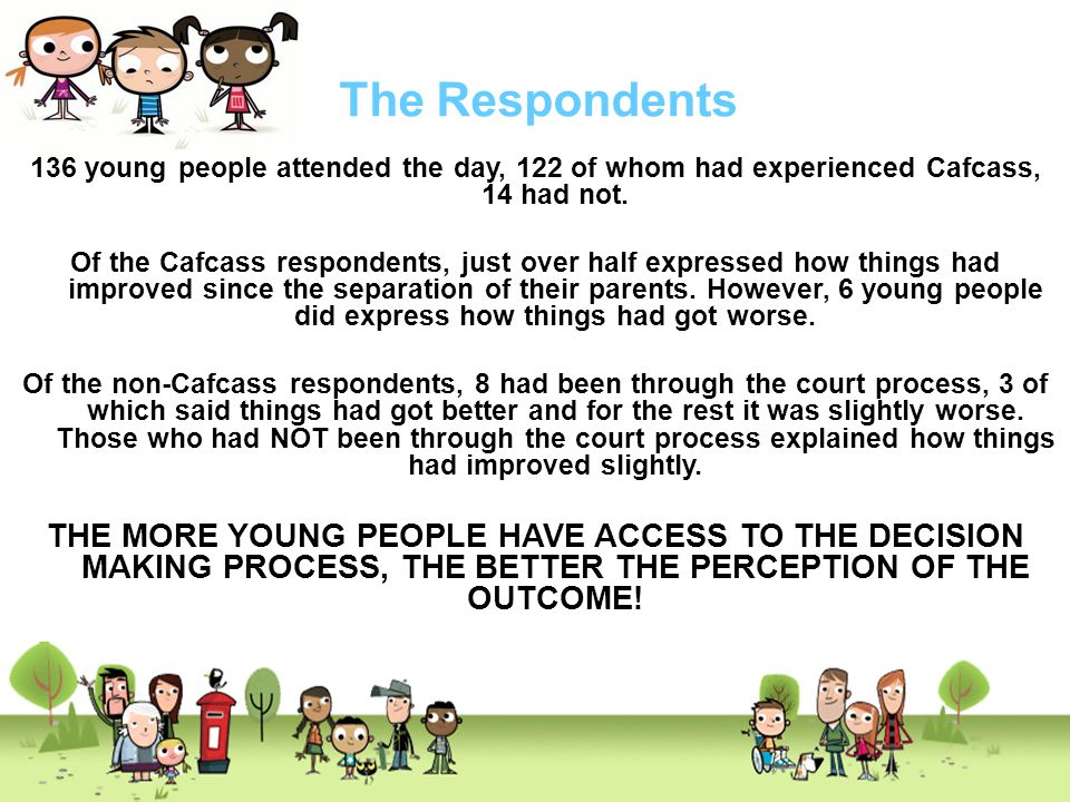 The Respondents 136 young people attended the day, 122 of whom had experienced Cafcass, 14 had not.