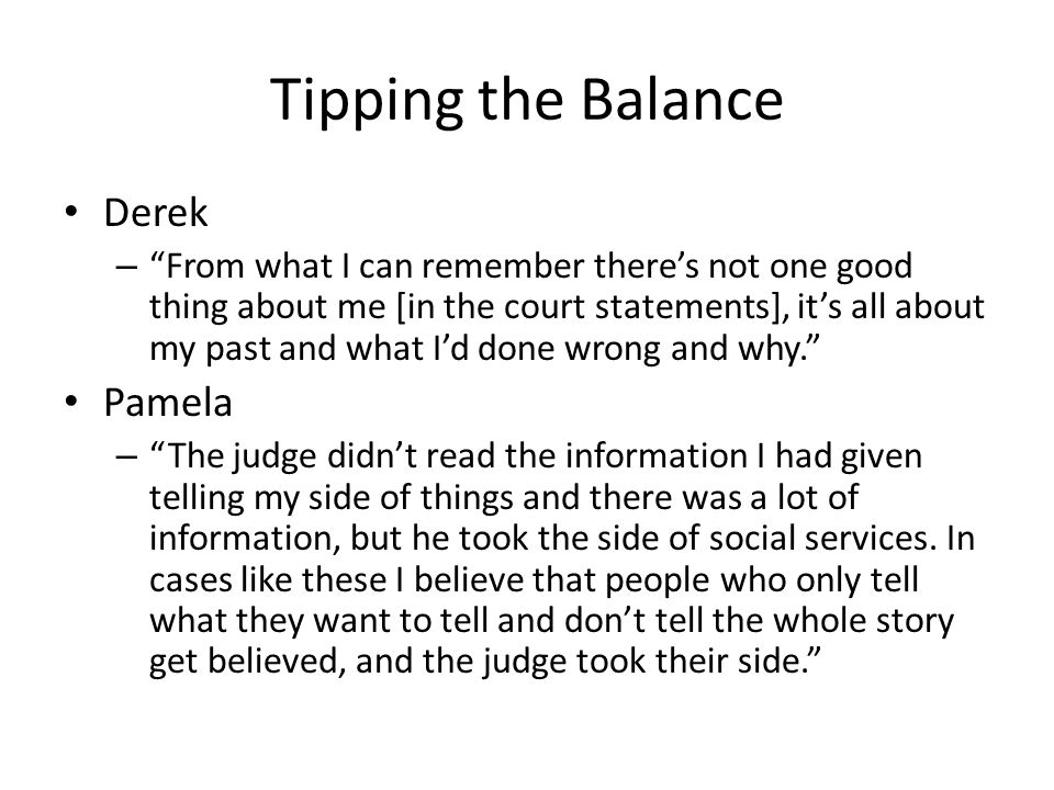 Tipping the Balance Derek Pamela