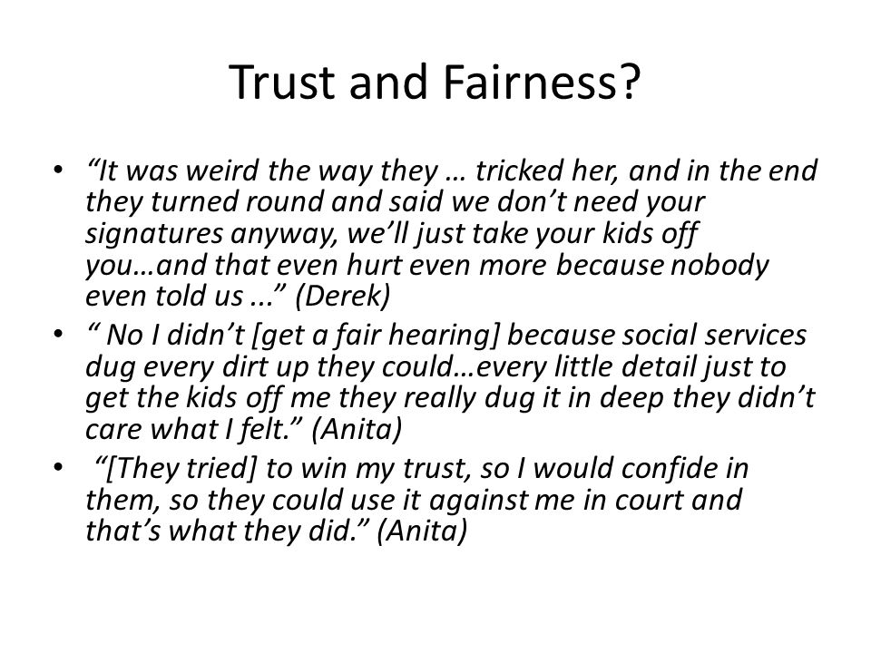 Trust and Fairness