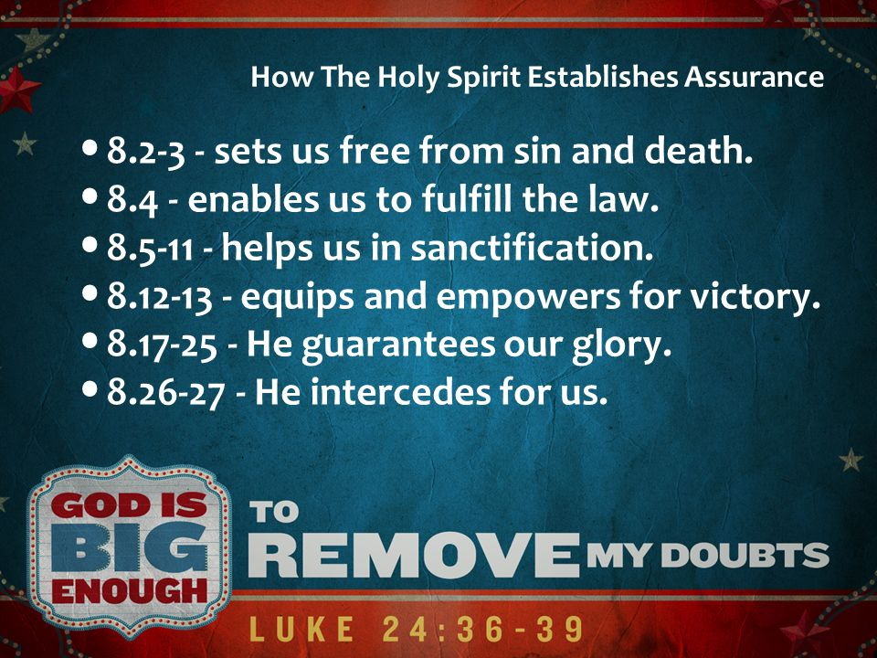 8.2-3 - sets us free from sin and death.