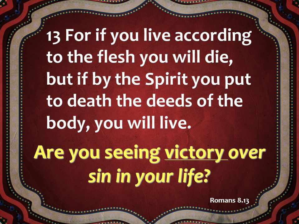Are you seeing victory over sin in your life