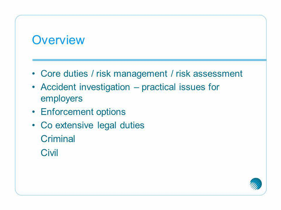 Overview Criminal Core duties / risk management / risk assessment