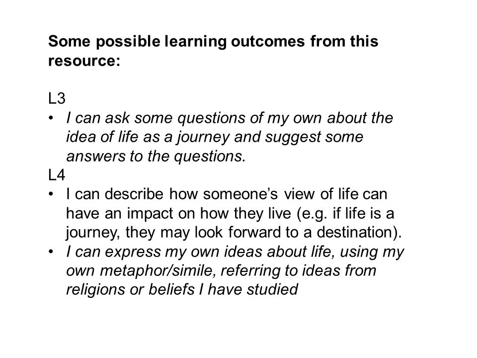 Some possible learning outcomes from this resource:
