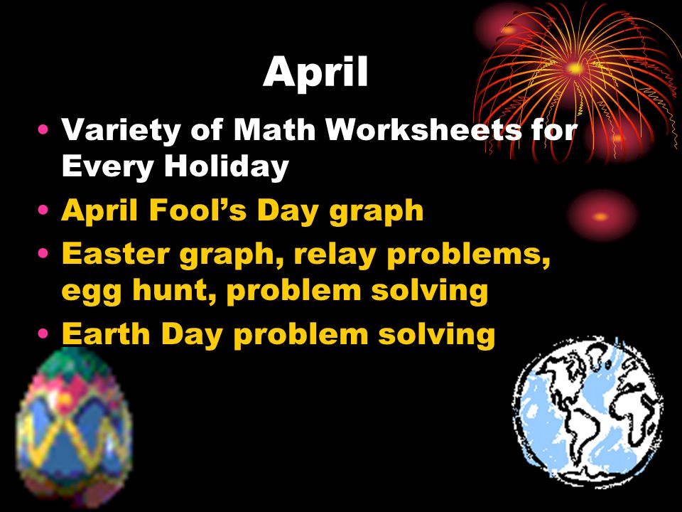 April Variety of Math Worksheets for Every Holiday