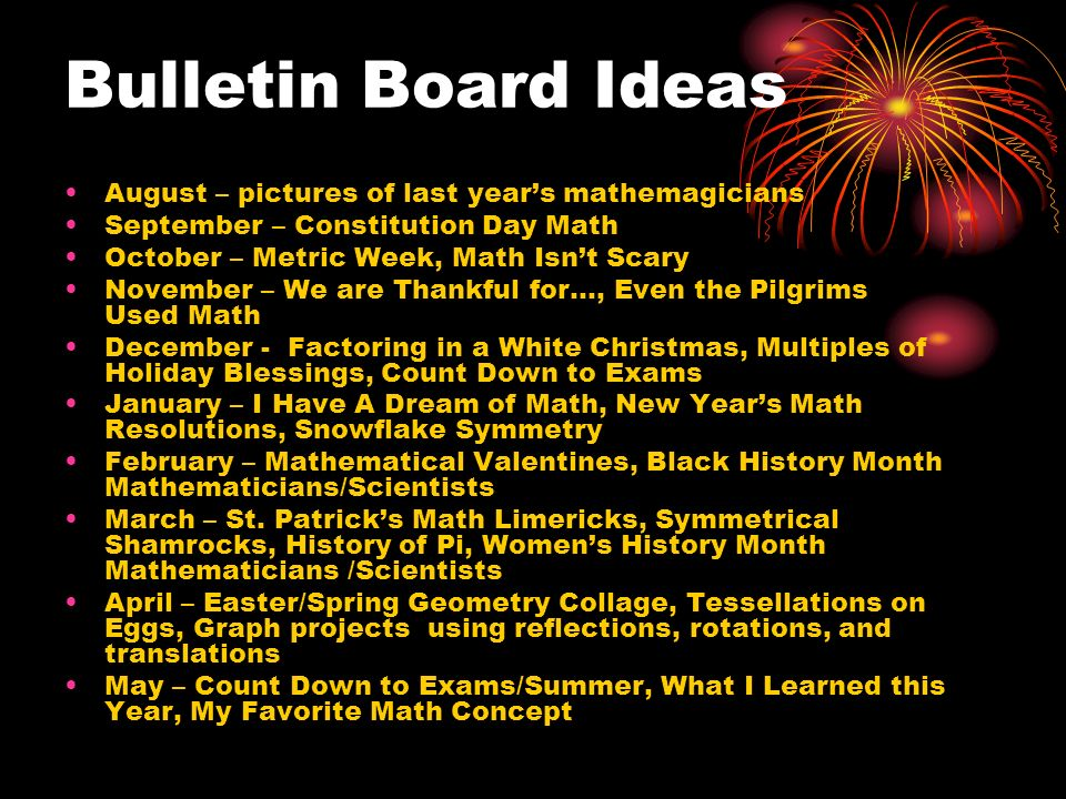Bulletin Board Ideas August – pictures of last year's mathemagicians