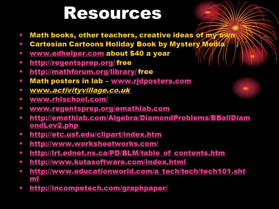 Resources Math books, other teachers, creative ideas of my own