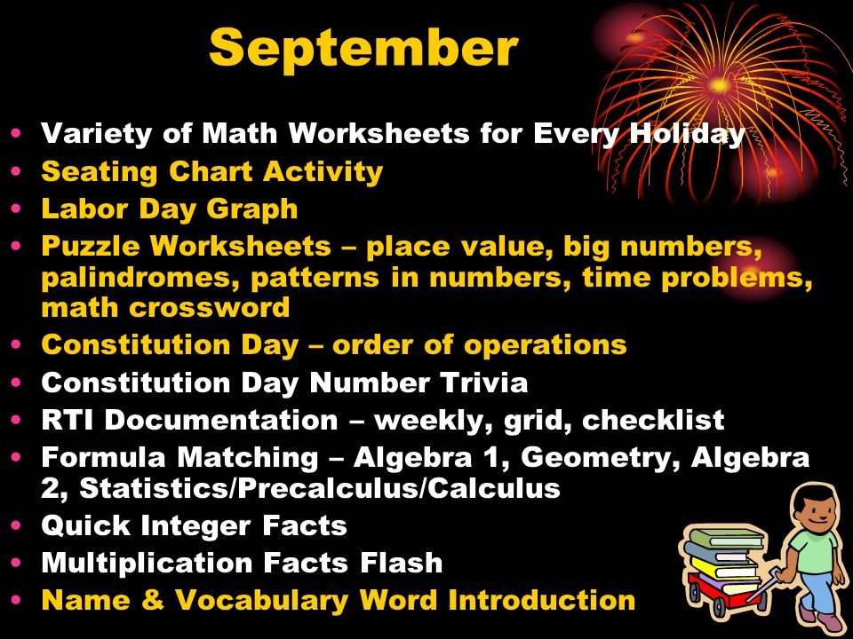September Variety of Math Worksheets for Every Holiday