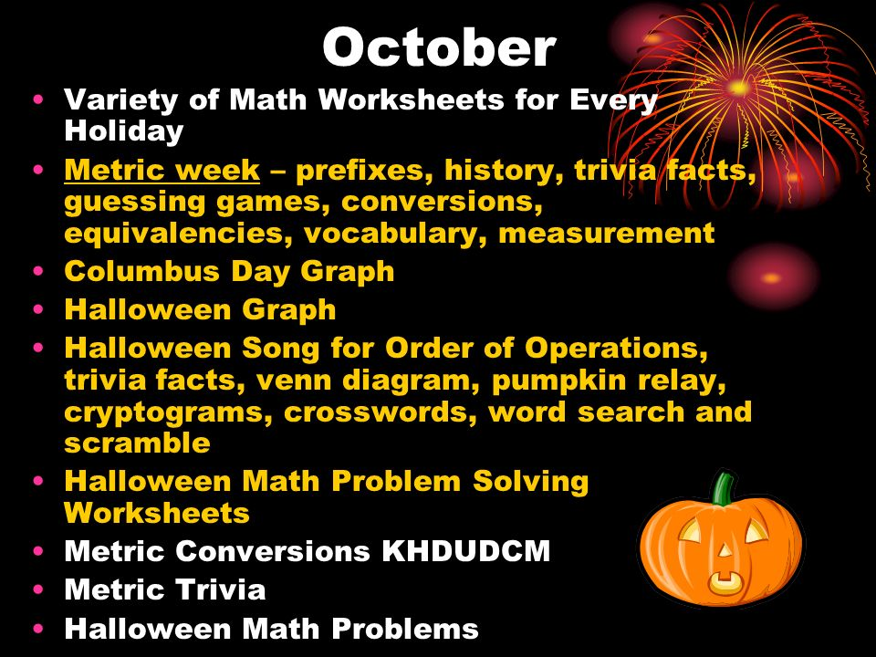October Variety of Math Worksheets for Every Holiday