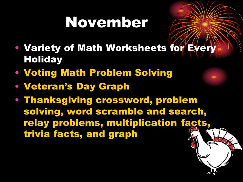 November Variety of Math Worksheets for Every Holiday