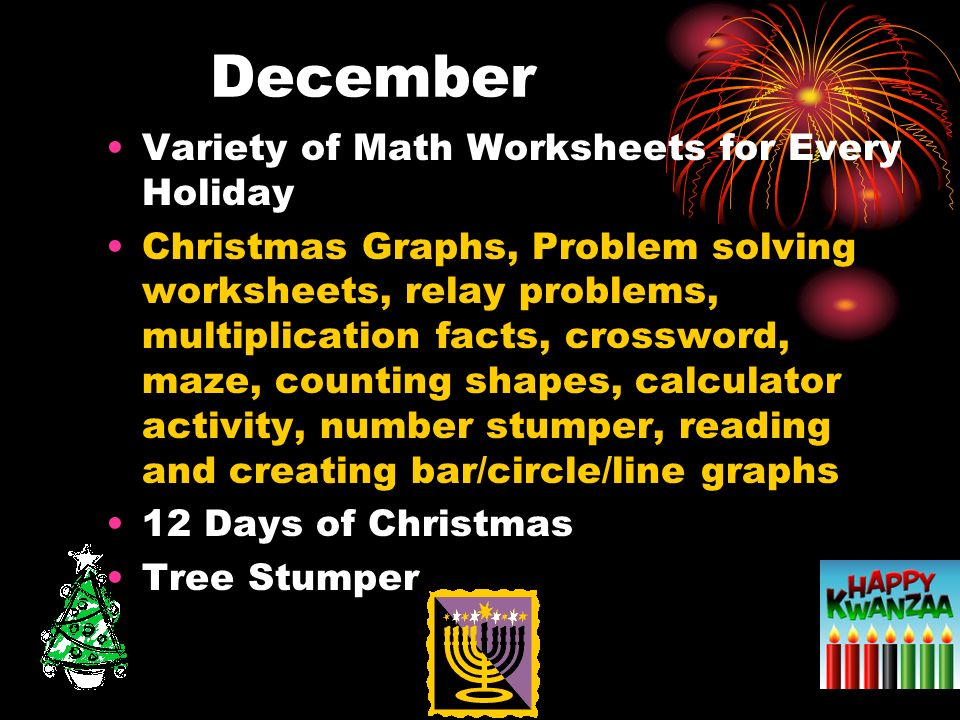 December Variety of Math Worksheets for Every Holiday