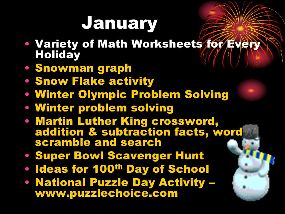 January Variety of Math Worksheets for Every Holiday Snowman graph
