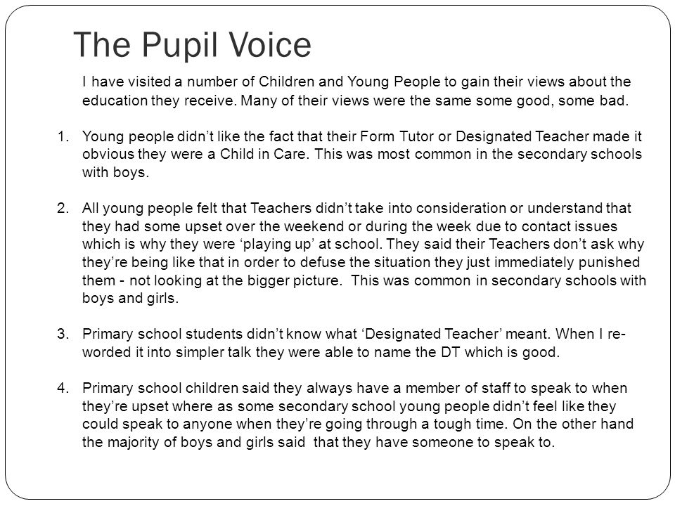 The Pupil Voice
