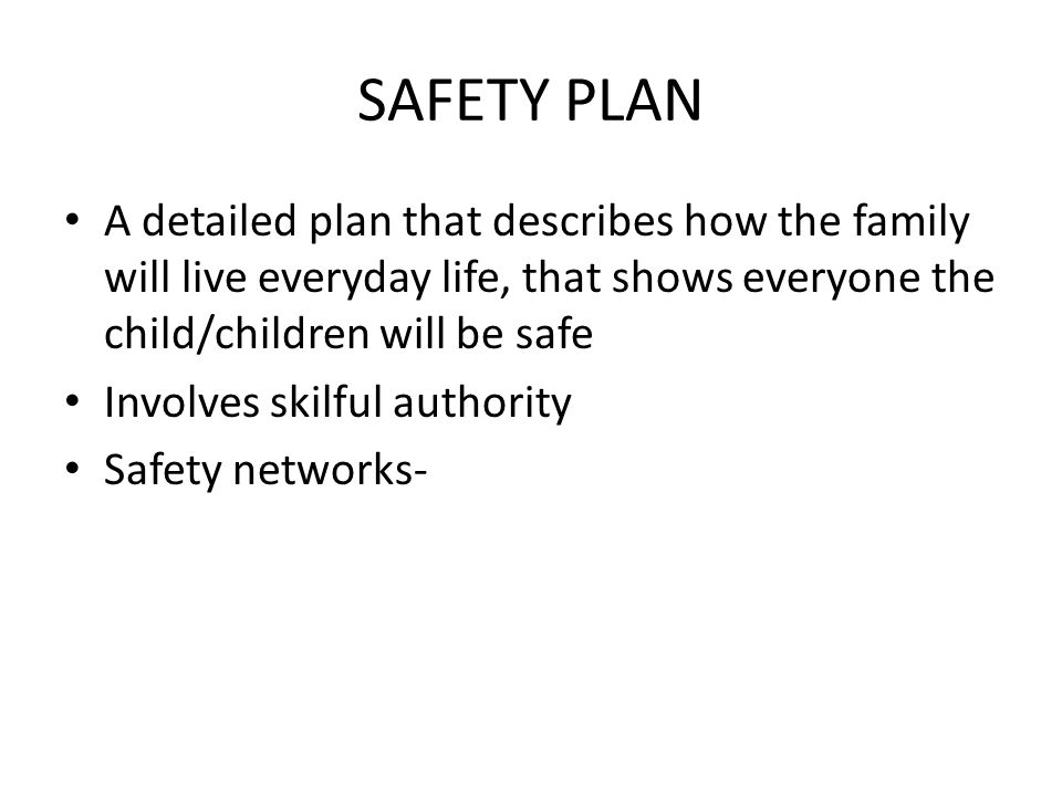 SAFETY PLAN A detailed plan that describes how the family will live everyday life, that shows everyone the child/children will be safe.