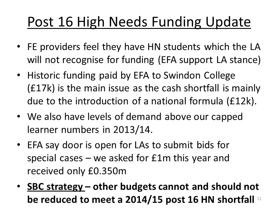 Post 16 High Needs Funding Update