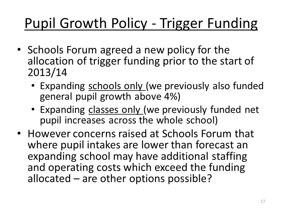 Pupil Growth Policy - Trigger Funding