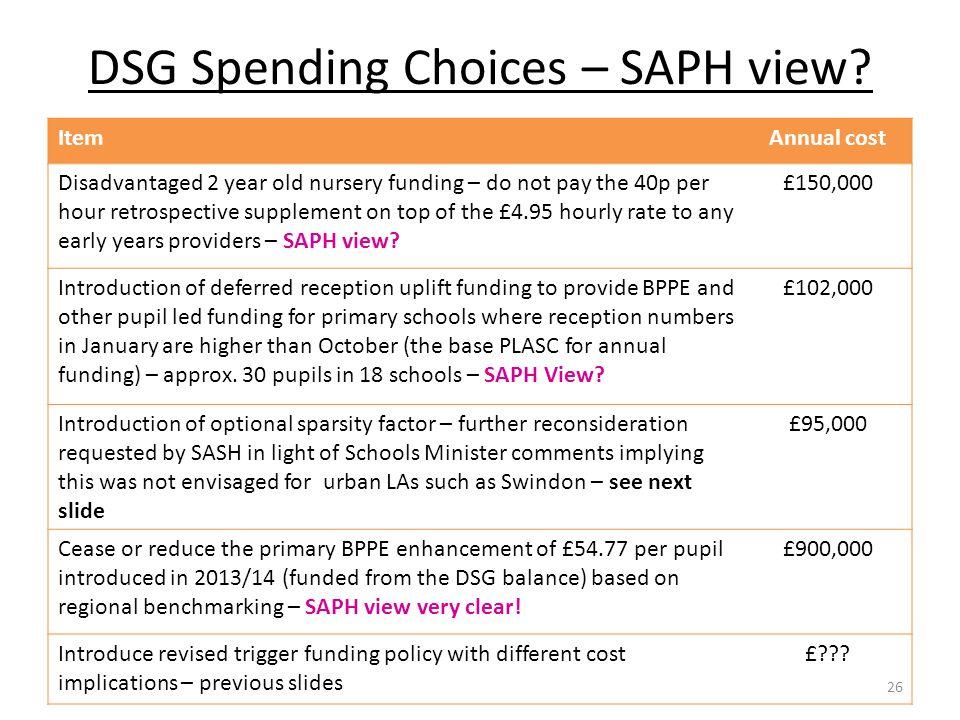 DSG Spending Choices – SAPH view