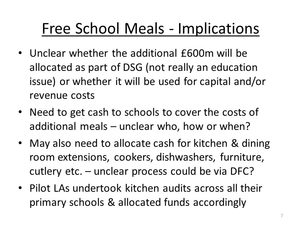Free School Meals - Implications