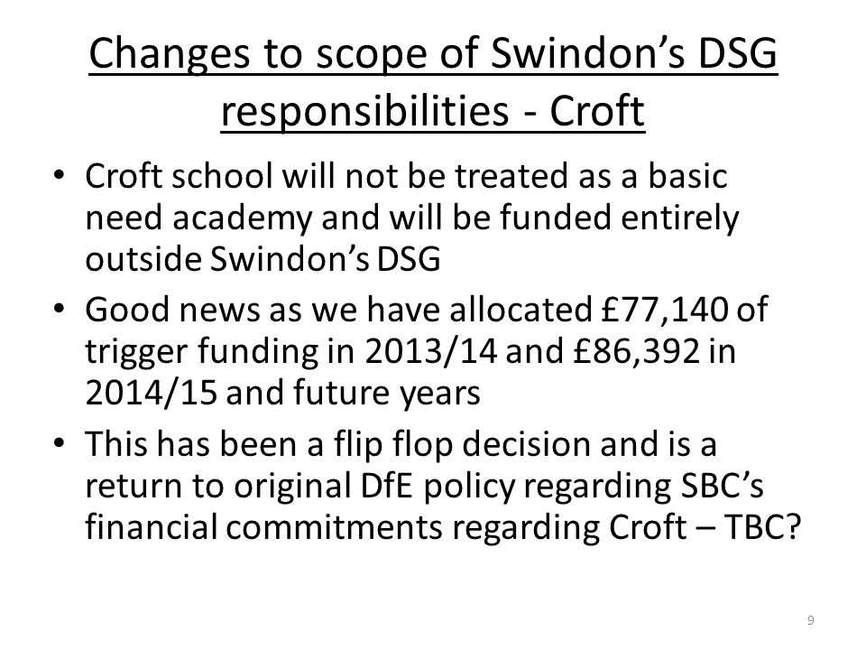 Changes to scope of Swindon's DSG responsibilities - Croft