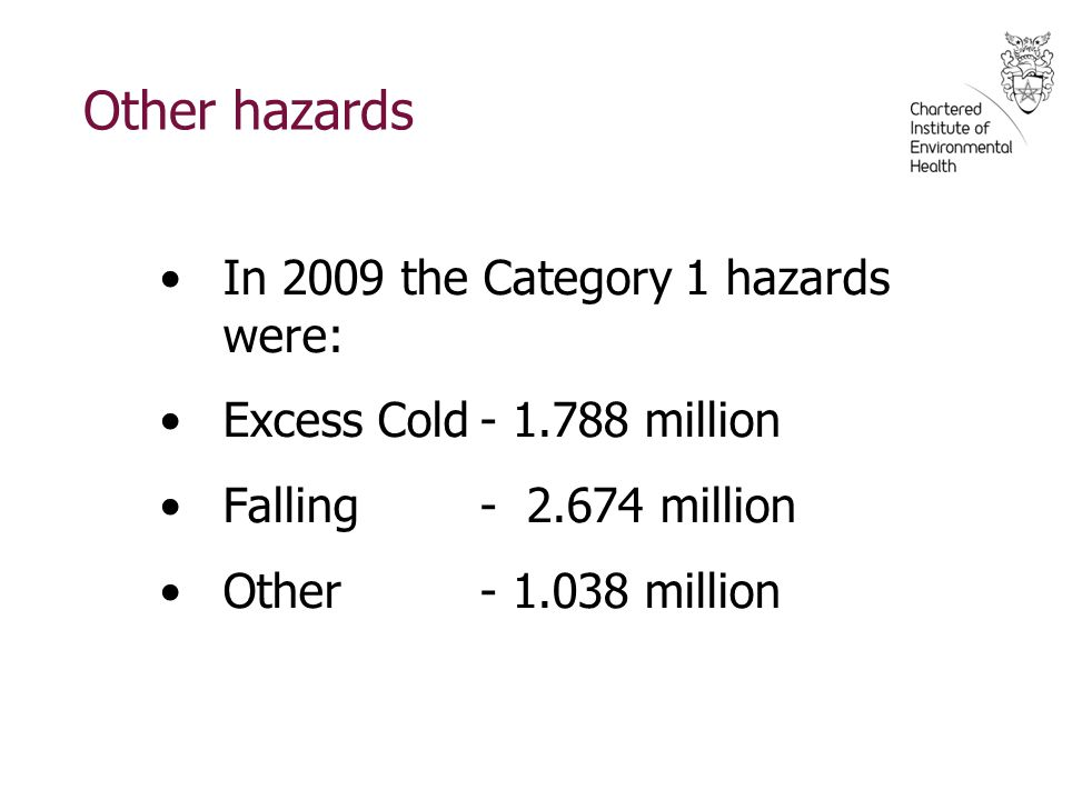 Other hazards In 2009 the Category 1 hazards were: