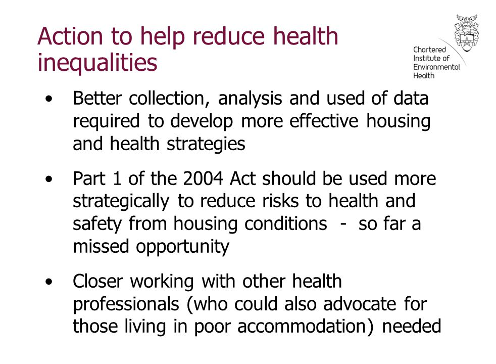 Action to help reduce health inequalities