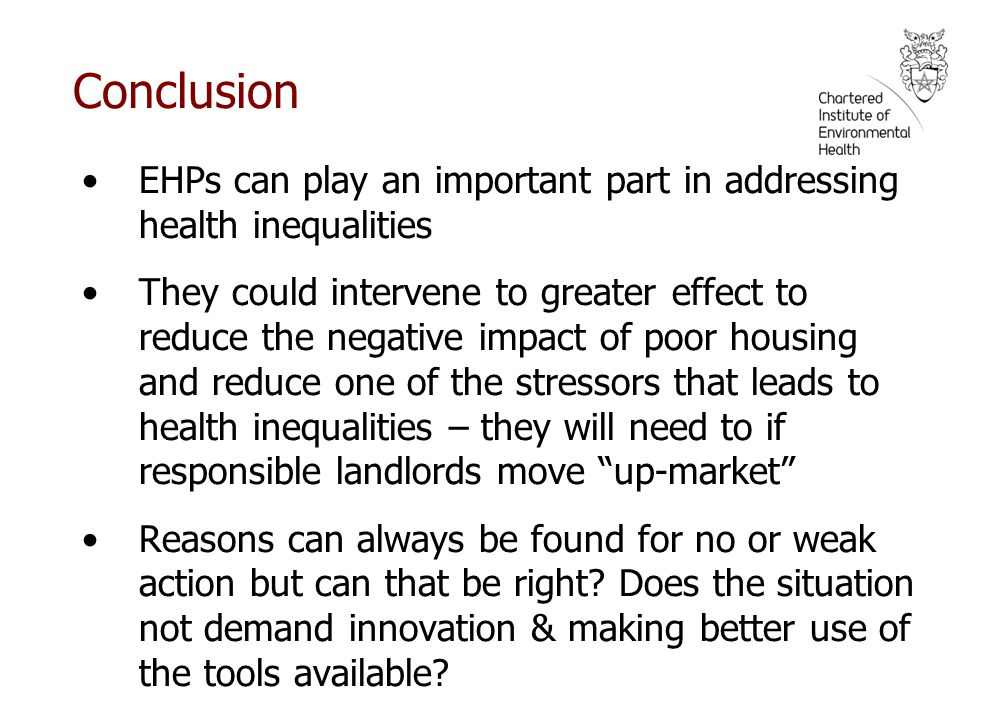 Conclusion EHPs can play an important part in addressing health inequalities.