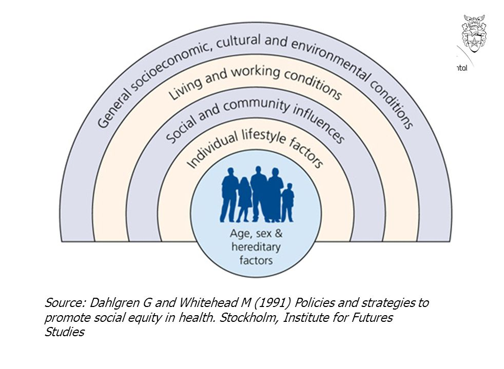 Source: Dahlgren G and Whitehead M (1991) Policies and strategies to promote social equity in health.