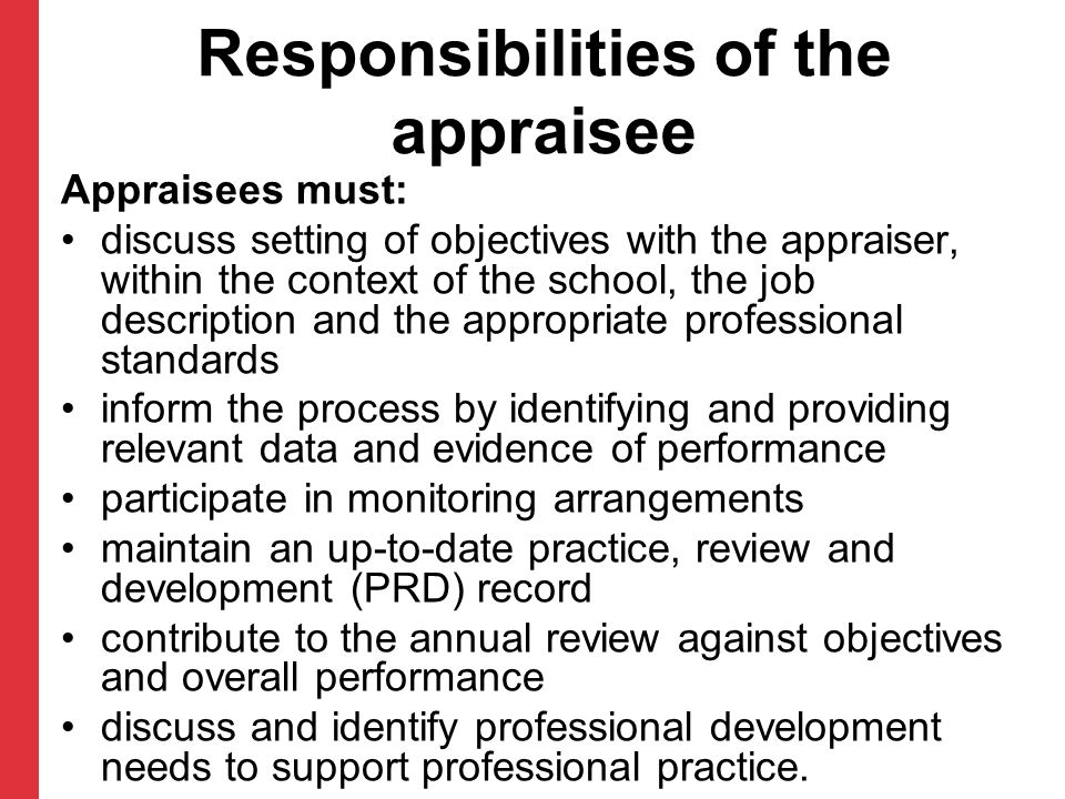 Responsibilities of the appraisee