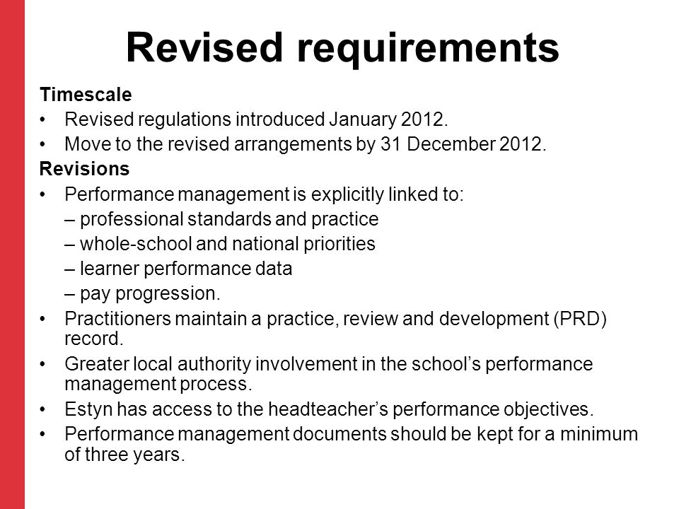 Revised requirements Timescale