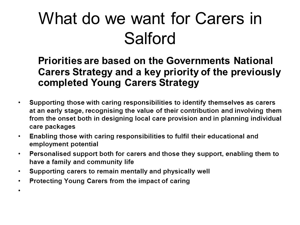 What do we want for Carers in Salford